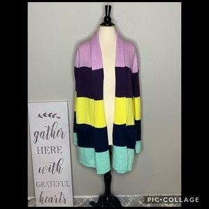 Sweaters - Multi Wide Stacked Stripes Cardigan NWT 1X
